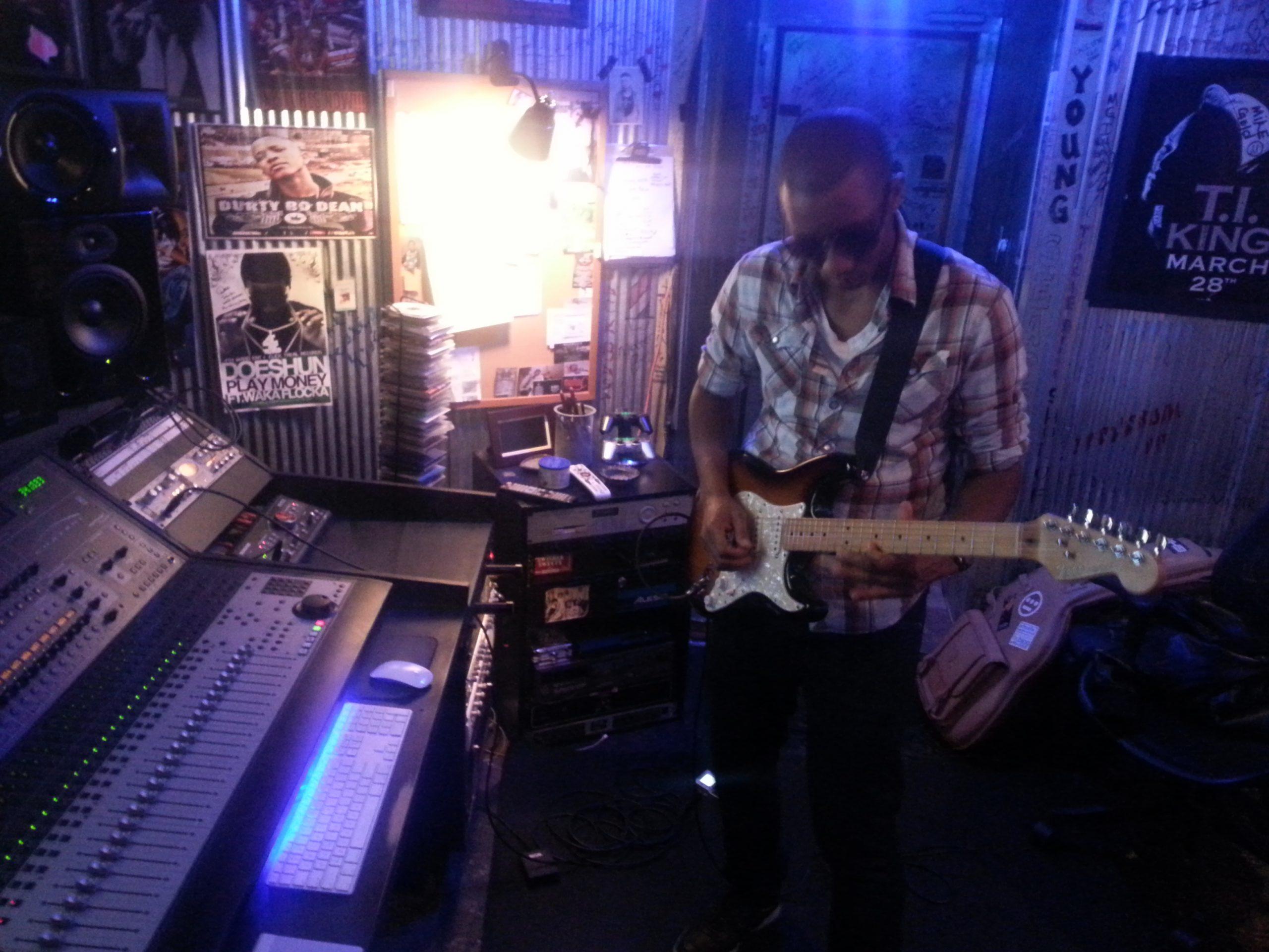 Elliot Holden soloing in the studio